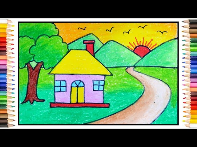 How To Draw Simple Scenery Scenery Drawing For Kids Village Drawing دیدئو Dideo