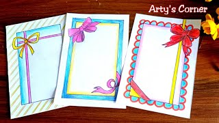 Ribbon Draw Border Design On Paper Designs For Front Page Border For Project By Arty S Corner دیدئو Dideo