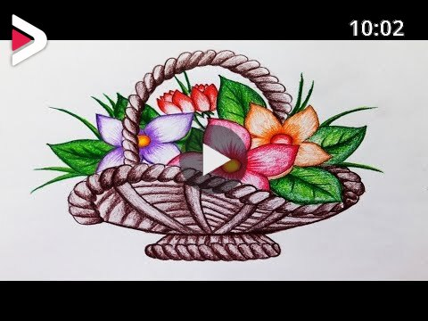 How To Draw Flower Basket Step By Step Easy Draw دیدئو Dideo